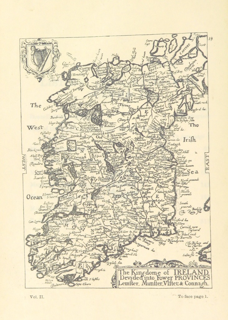 """map from """"[Pacata Hibernia. Ireland appeased and reduced. Or, an Historie of the late warres of Ireland, especially within the Province of Mounster vnder the government of Sir G. Carew ... Illustrated with seventeene severall mappes, etc. [Compiled by G. Carew, Earl of Totnes. Edited by Sir Thomas Stafford. With portraits of the author and Queen Elizabeth.]]"""""""