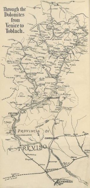 "map from ""Through the Dolomites from Venice to Toblach ... With ... illustrations and map"""