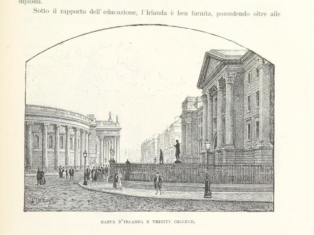 """College of the Holy and Undivided Trinity of Queen Elizabeth near Dublin from """"Inghilterra, Scozia e Irlanda. Opera illustrata con 494 incisioni, etc"""""""