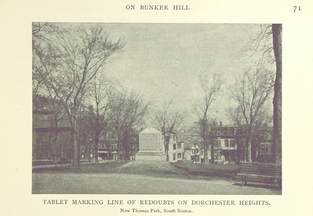 """Dorchester Heights from """"The Century Book of the American Revolution. The story of the pilgrimage of a party of young people to the battlefields of the American Revolution ... Illustrated"""""""