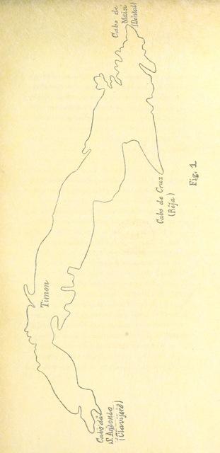 """map from """"Estudio de las razas humanas que han ido poblando sucesivamente la Isla de Cuba"""""""