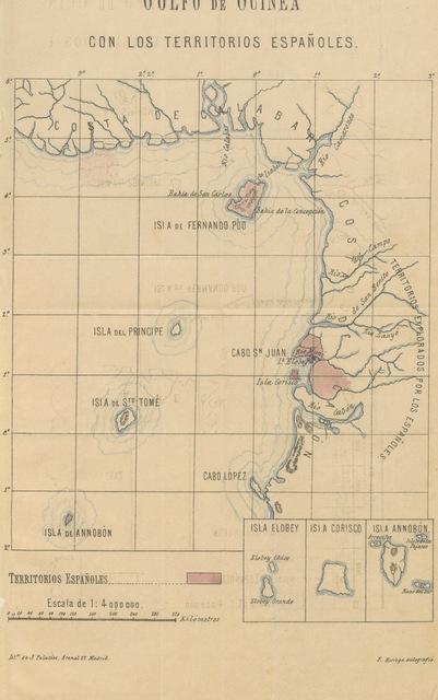 """map from """"Fernando Póo. Su presente y su porvenir. Recopilación de datos y noticias oficiales ... acerca de las excepcionales condiciones y grandes ventajas que para su colonización ofrece esta isla. [With maps.]"""""""
