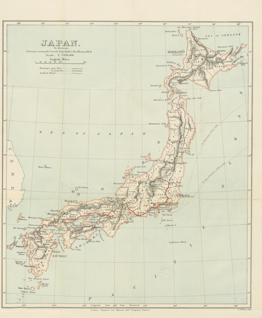 "map from ""Journeys among the Gentle Japs in the summer of 1895, with a special chapter on the religions of Japan, etc"""