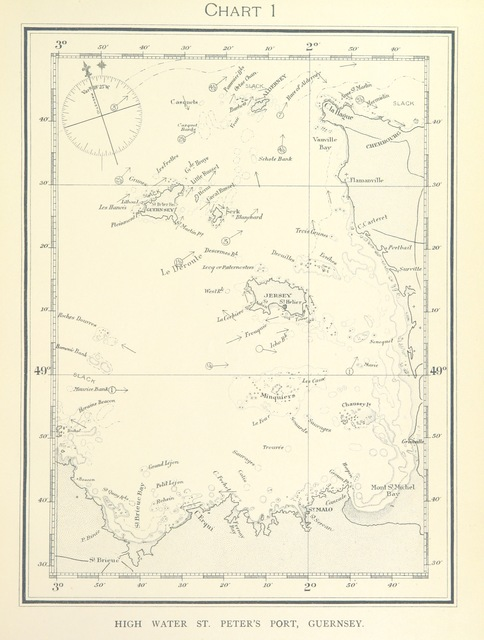 "map from ""Twelve Charts of the Tidal Streams near the Channel Islands and neighbouring French Coast"""