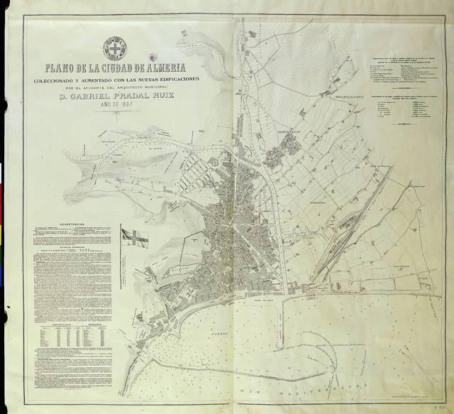 Plano de la ciudad de Almeria coleccionado y aumentado con las nuevas edificaciones