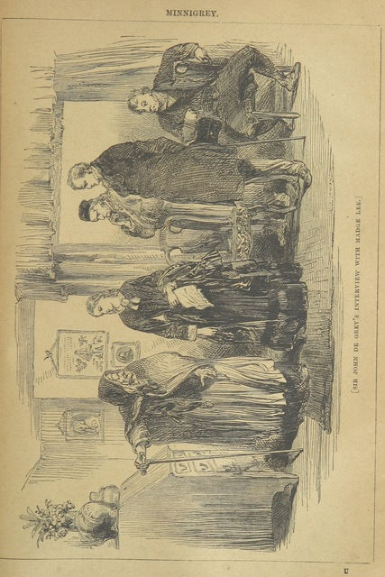 """Sir John de Grey's interview with Madge Lee from """"Minnigrey. A romance ... Illustrated by Sir John Gilbert"""""""