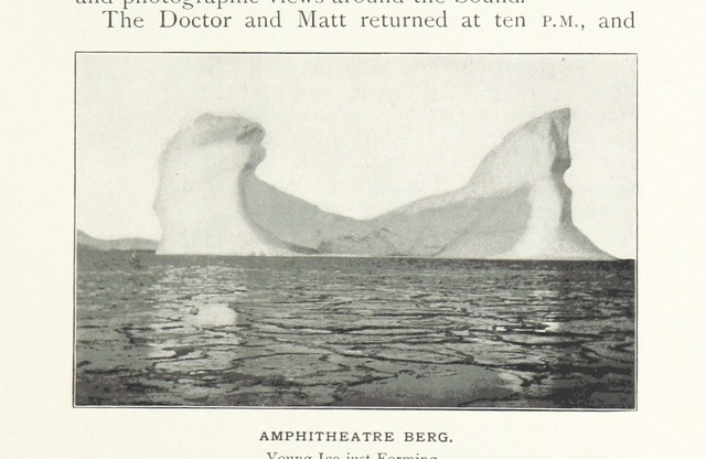 """iceberg from """"Northward over the """"Great Ice"""": a narrative of life and work along the shores and upon the interior ice-cap of Northern Greenland in the years 1886 and 1891-1897 ... With maps, diagrams, and about eight hundred illustrations"""""""