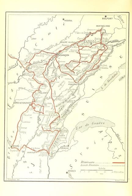 """map from """"Les Montagnes de France. Le Jura et le Pays Franc-Comtois, etc"""""""