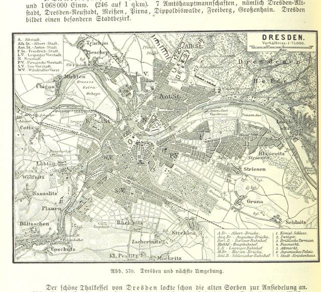 """Dresdan from """"Illustriertes kleineres Handbuch der Geographie ... Dritte, verbesserte Auflage bearbeitet von Dr. W. Wolkenhauer"""""""