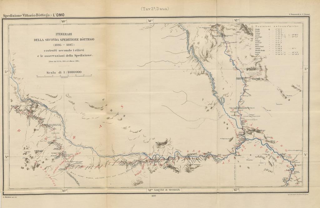 """map from """"Seconda Spedizione Bòttego. L'Omo. Viaggio d'esplorazione nell'Africa Orientale ... con ... 11 tavole e 9 carte"""""""