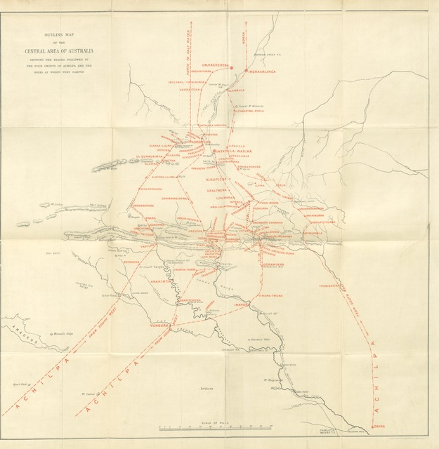 """map from """"The Native Tribes of Central Australia. [With illustrations.]"""""""