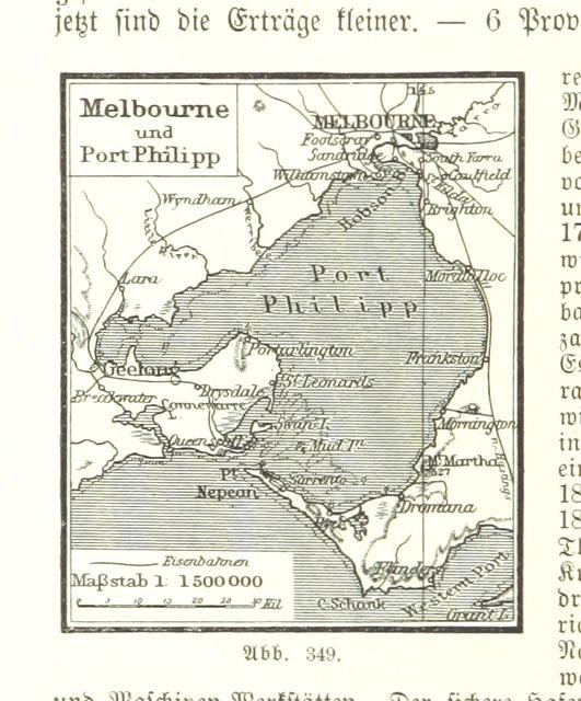 """Melbourne from """"Illustriertes kleineres Handbuch der Geographie ... Dritte, verbesserte Auflage bearbeitet von Dr. W. Wolkenhauer"""""""