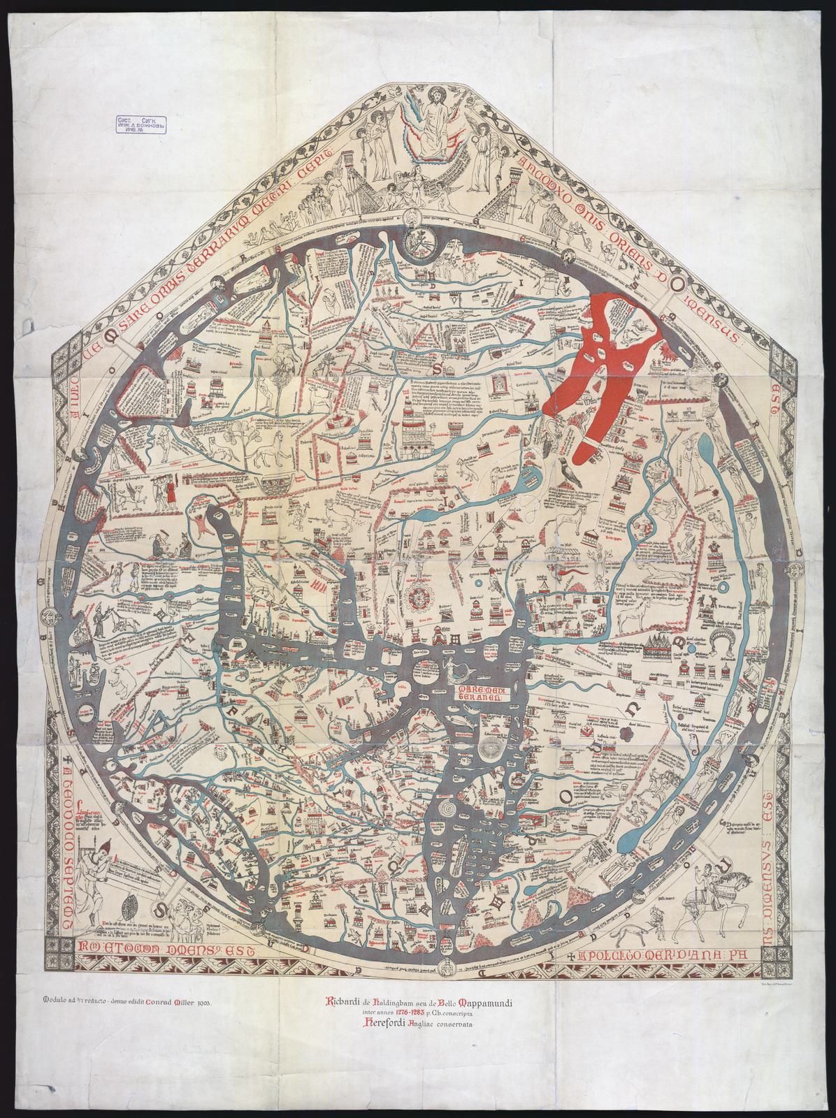 Richardi de Haldingham seu de Bello Mappamundi inter annos 1276-1283 p. Ch.conspirata Herefordi Angliae consrvata : [Херефордска карта]