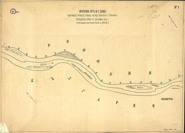 Фигуративна карта на р. Дунав, съдържаща речната граница между България и Румъния, определена през м. октомври 1908 г. : Съгласно конвенцията между България и Румъния от 1. I. 1908 г.