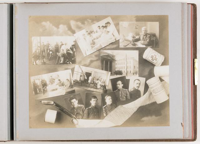 Compositie van 11 foto's en medische instrumenten en materialen