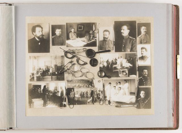 Compositie van 14 foto's en brillen en medische instrumenten