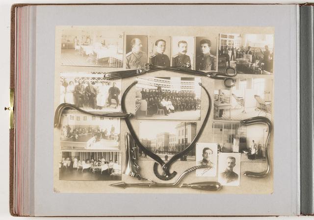 Compositie van 15 foto's en medische instrumenten (gynaecologische instrumenten)