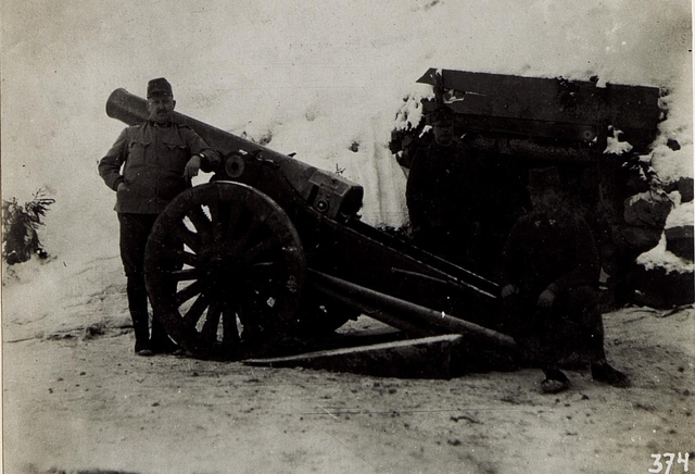 15cm Haubitze M.99 an der Kreuzbergstraße, 5.2.1916.