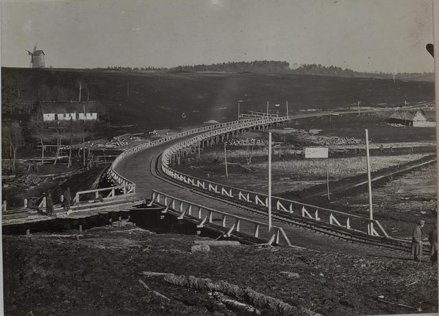 Ansicht der vollendeten Brücke bei Bielogorodek am 21.Jänner 1916, welche dem Verkehr übergeben wurde