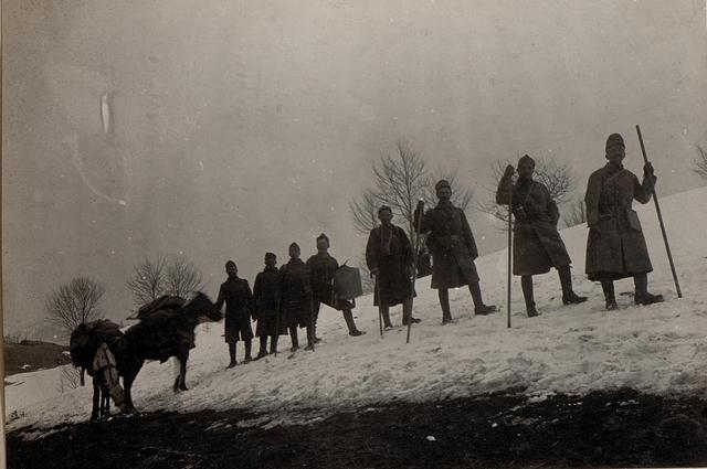 Col di Baio.Aufstieg von Cismon in die Stellungen.