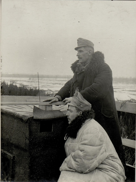 Fliegerbeobachtungsstand beim XIII. Korpskommando in BUCZACZ beim Beobachter. Aufgenommen 24. III. 1916 beim Inf.Rgt.Nro.5.
