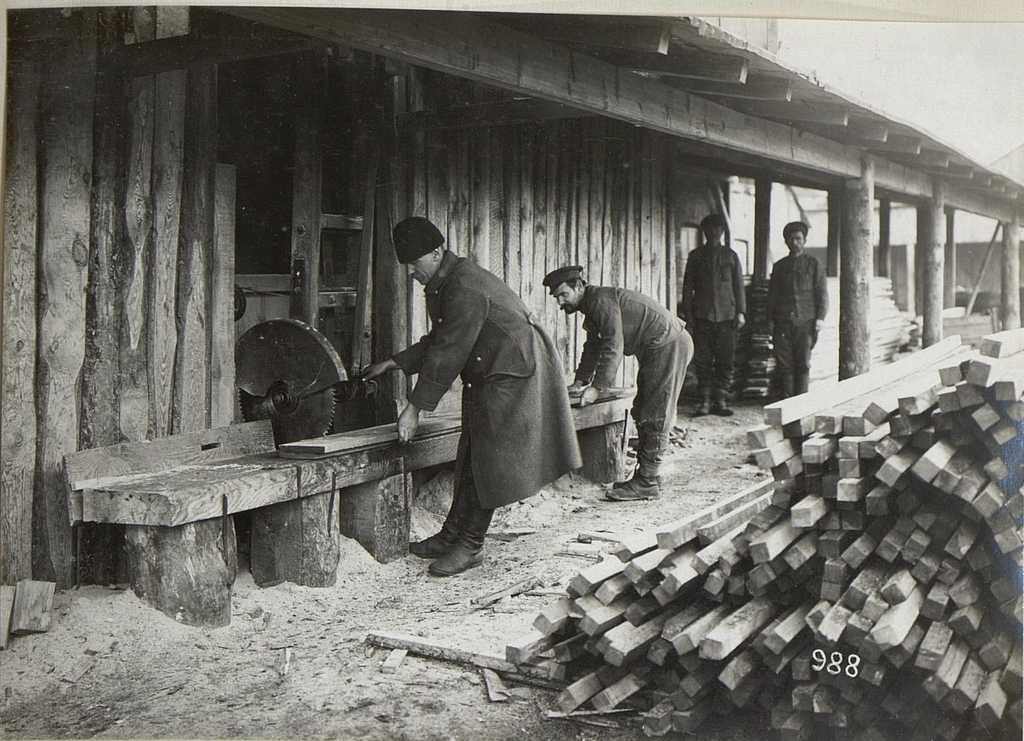 Holzverarbeitung im winterlichen Galizien