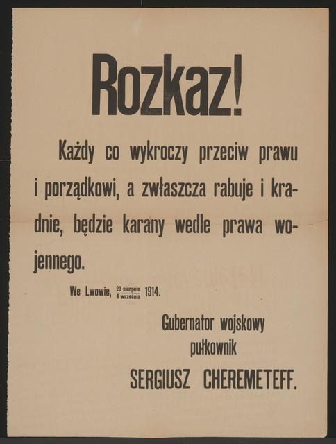 Kriegsrecht - Befehl - Lemberg - In polnischer Sprache