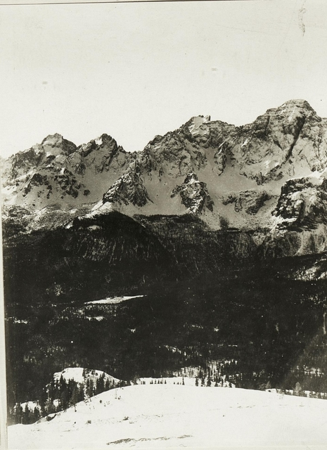 Standpunkt Kreuzberg: Panorama Croda di Campo bis Rotwand. (2.Teilbild zu  WK_ALB_03685a)