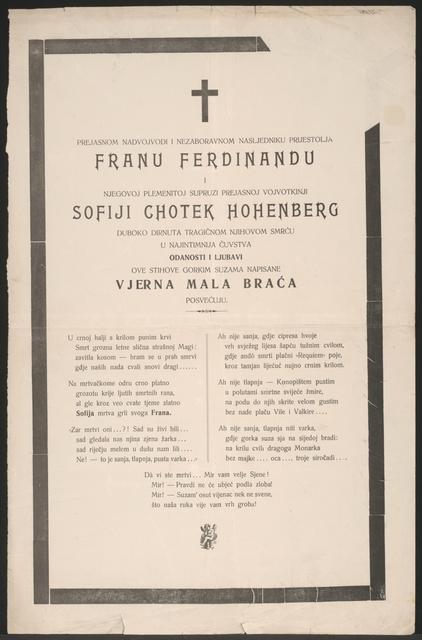 Tod von Franz Ferdinand und Sophie - Trauerplakat - In kroatischer Sprache