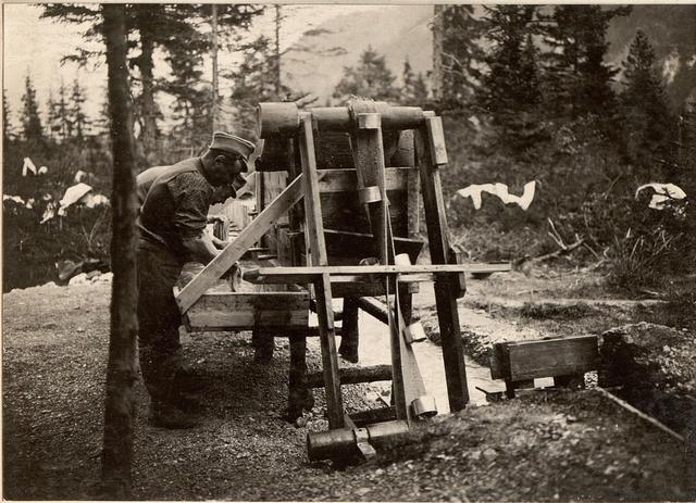 Wasserschöpfwerk in der Seissera beim kgl.ung.Lst.Baon Nr.1/7.Aufgenommen am 3.6.1916.