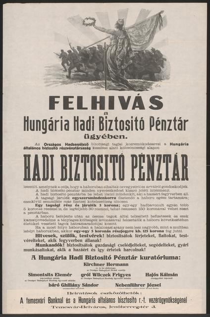 Aufruf in Sachen Hungária Kriegsversicherungskassa - Temesvár - In ungarischer Sprache