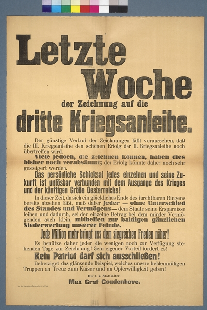 Dritte Kriegsanleihe - Aufruf - Prag