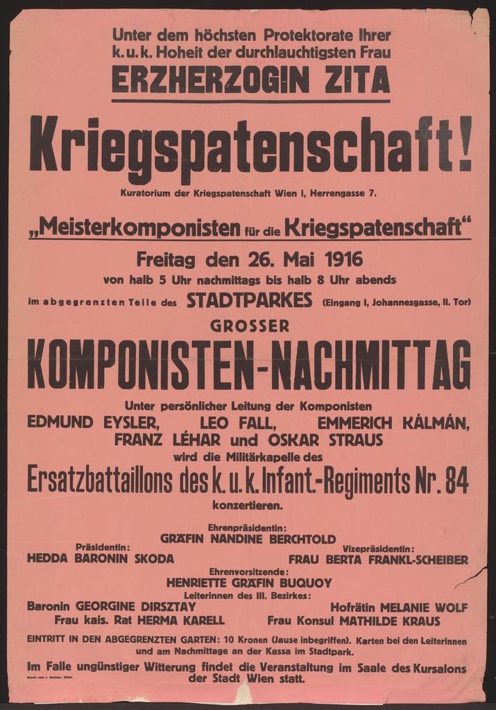 Komponisten-Nachmittag - Meisterkomponisten für die Kriegspatenschaft - Stadtpark
