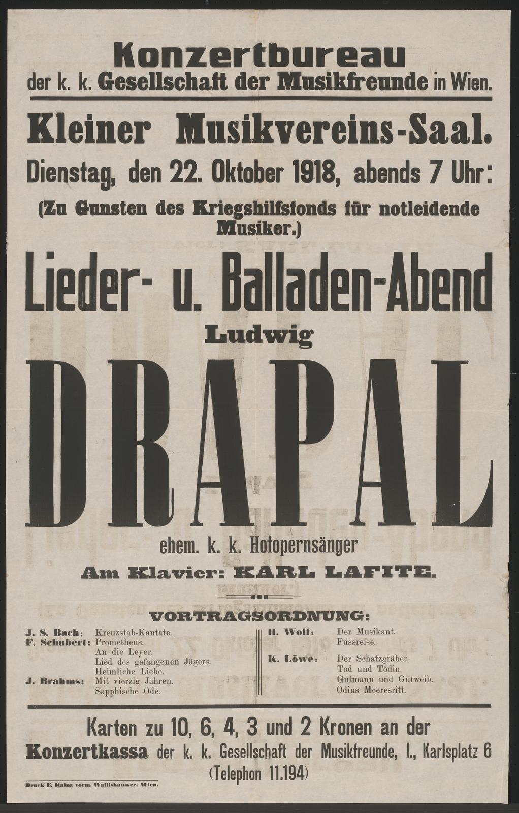 Ludwig Drapal - Lieder- und Balladen-Abend - Kleiner Musikvereins-Saal