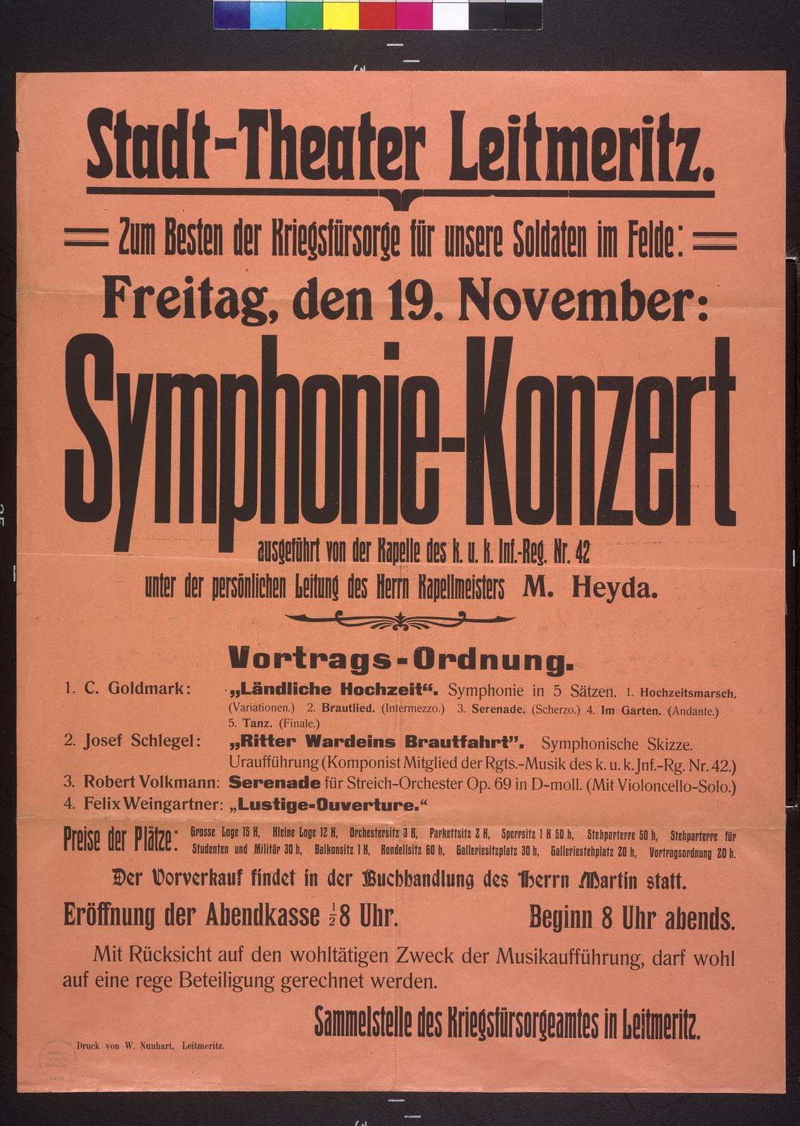 Symphoniekonzert - Kriegsfürsorge - Textplakat - Leitmeritz