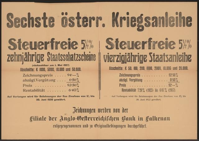 Sechste österreichische Kriegsanleihe - Anglo-Österreichsiche Bank in Falkenau