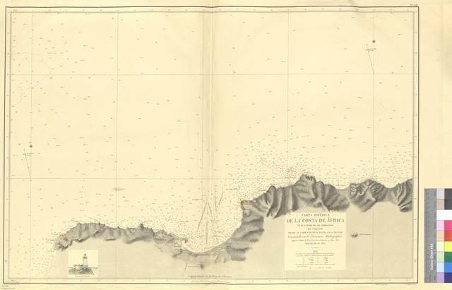 Carta esférica de la Costa de Africa en el estrecho de Gibraltar : que comprende desde el Cabo Espartel hasta Cala Grande [Mapa]