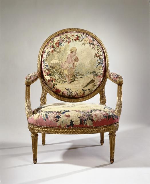 Armstoel bekleed met tapisserie met een jongen in een wijngaard (petit vendangeur) (rug) en een vliegende adelaar met een patrijs in de klauwen (zitting)