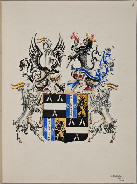 Wapenschildering / door Hubert Levigne, voor Matthieu René Radermacher Schorer (1888-1956), bibliofiel
