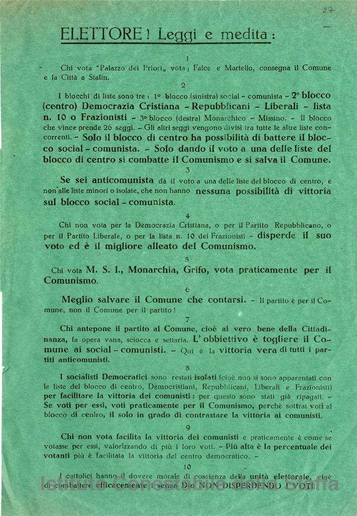 """Elettore! Leggi e medita: chi vota """"Palazzo dei Priori"""", vota Falce e Martello, consegna il Comune e la Città a Stalin"""