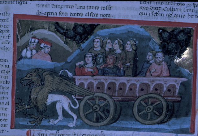 A griffon pulling a chariot from BL Eg 943, f. 117