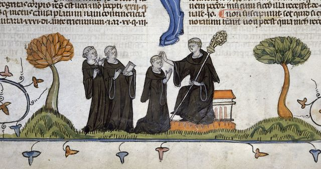 Abbot blessing monks from BL Royal 10 E IV, f. 224v