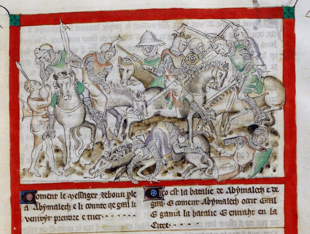 Abimelech killing Gaa from BL Royal 2 B VII, f. 39