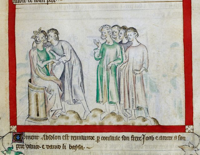 Absalom and David from BL Royal 2 B VII, f. 59