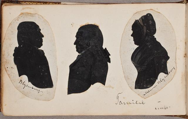 """Acht silhouetportretten waarvan met name genoemd worden twee leden van het geslacht Blijenburg, """"L. van Toulon (ob. 1838)"""", """"mevrouw de Bordes van Toulon"""" [=Alida Maria Petronella van Toulon (1772-1844), in 1801 gehuwd met Tobie Constantin de Bordes (1772-1845)]"""