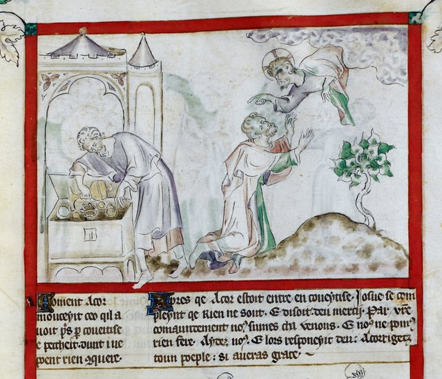 Acor's greed from BL Royal 2 B VII, f. 29