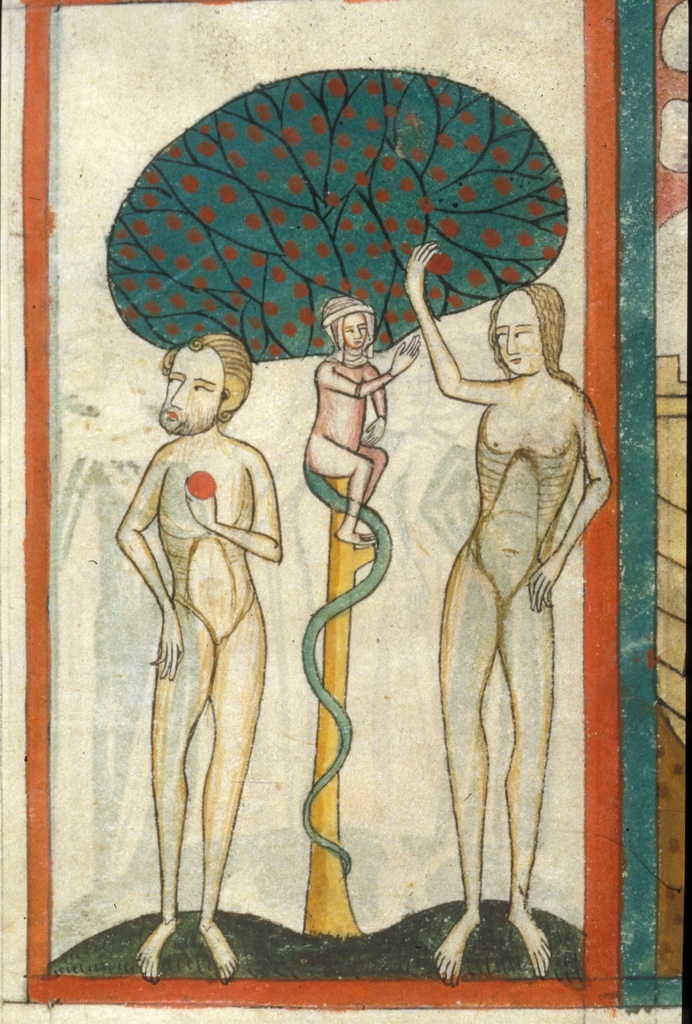 Adam and Eve from BL Royal 6 E VI, f. 2
