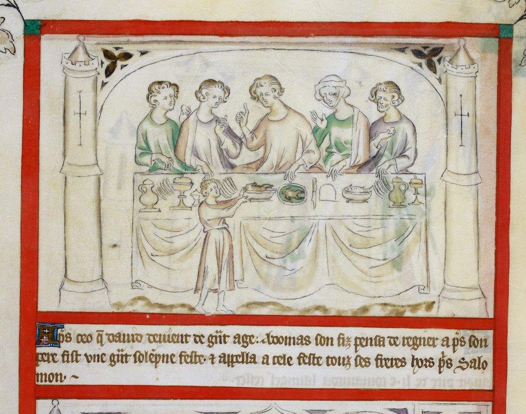 Adonijah's feast from BL Royal 2 B VII, f. 63v
