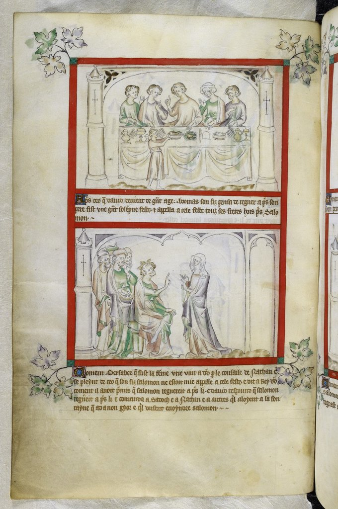 Adonijahs feast from BL Royal 2 B VII, f. 63v