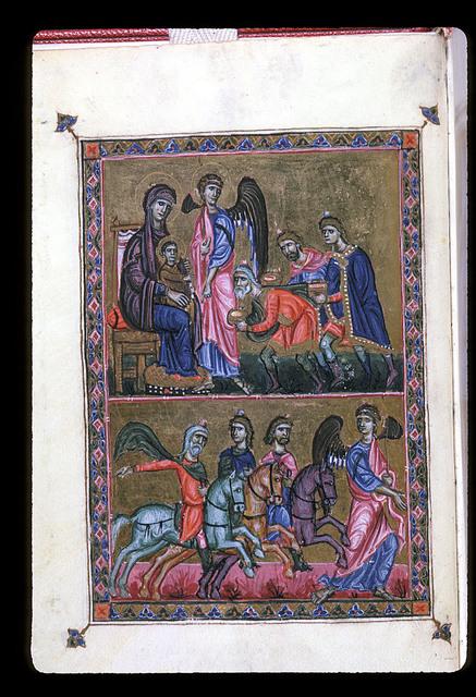 Adoration of the Magi from BL Eg 1139, f. 2v